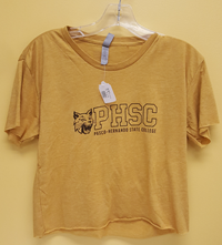 Crop Top Ladies Gold W/ Block Logo And Bobcat