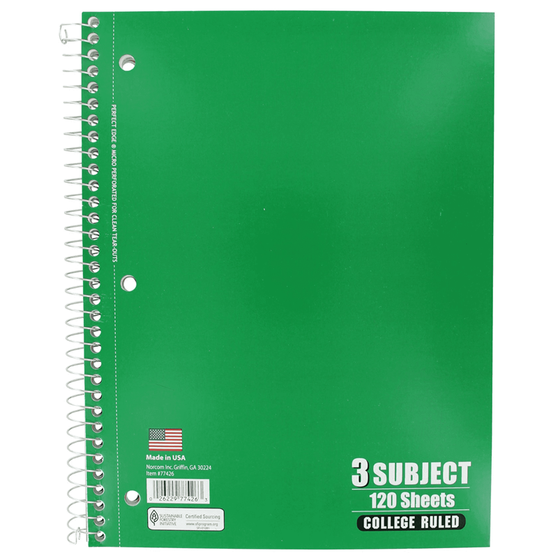 Notebook 3 Subject  Norcom (SKU 1002635922)