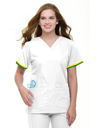 Womens LPN Uniform Top -Green/Gold Stripe