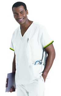 Mens LPN Uniform Top -Green/Gold Stripe