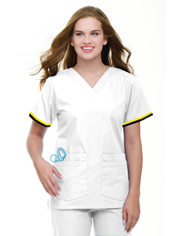 Womens RN Uniform Top -Black/Gold Stripe