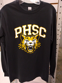 Long Sleeve T Shirt Black W/ PHSC And Bobcat Logo Sm